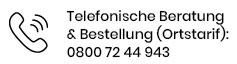 Telefonische Beratung & Bestellung: (Ortstarif) 030-20 20 10 44